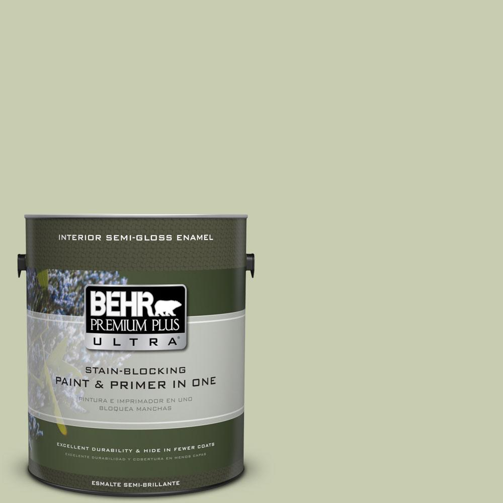 BEHR Premium Plus Ultra 1-gal. #ECC-12-2 Meadow Glen Semi-Gloss Enamel Interior Paint