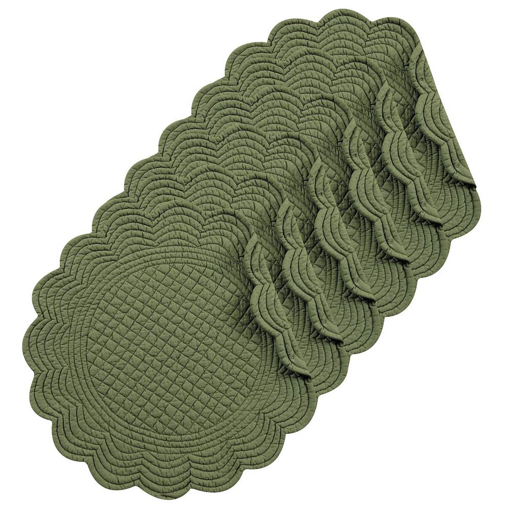 C F Home Pine Round Green Placemat Set Of 6 862602231gs6 The Depot