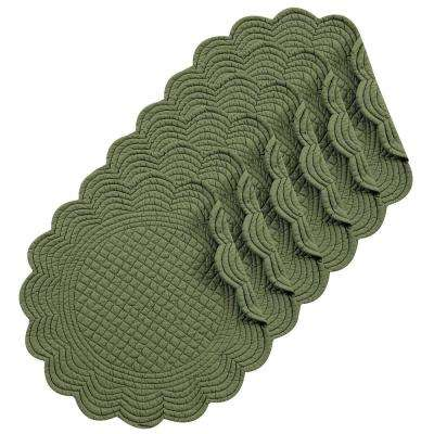 Pine Round Green Placemat (Set of 6)