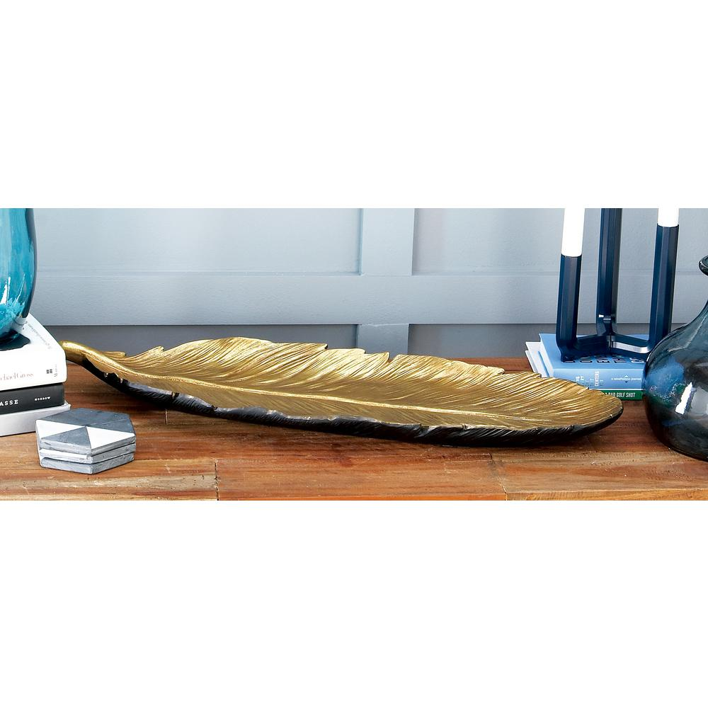 26 in. x 2 in. Natural Gold Ceramic Feather Tray