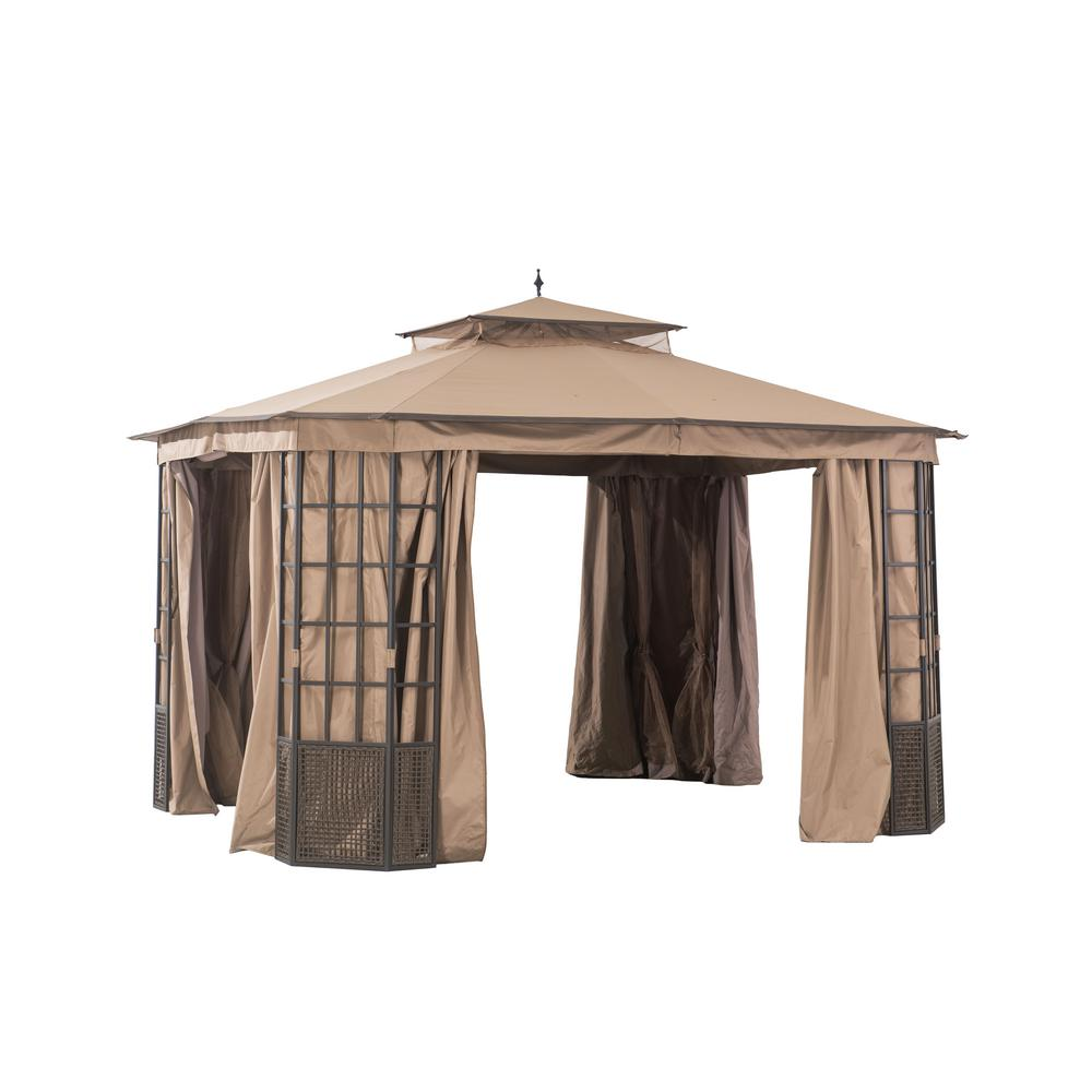 Hampton Bay Verado 10 ft. x 12 ft. Brown Gazebo with Mosquito Netting and Private Curtain