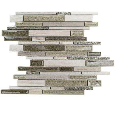 Olive Branch Wooden Beige Glass and Stone Mosaic Tile - 3 in. x 6 in. Tile Sample