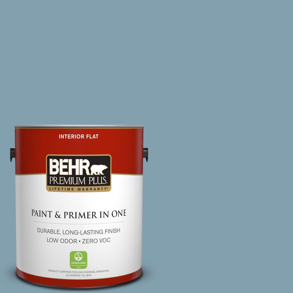 BEHR Premium Plus 1-gal. #T14-14 Cloisonne Blue Flat Interior Paint