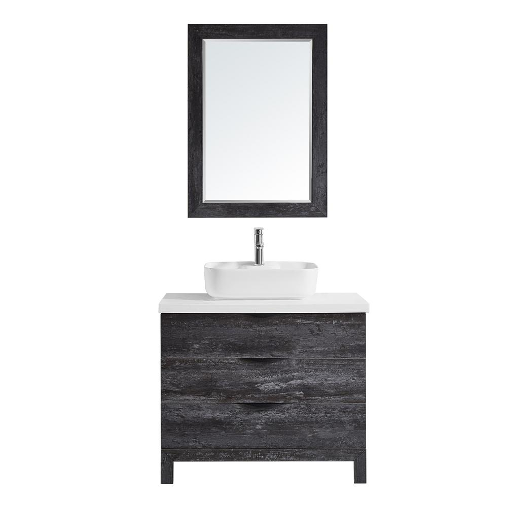 ROSWELL Spencer 36 in. W x 20 in. D Bath Vanity in Grey with Quartz Vanity Top in White with White Basin and Mirror was $1030.95 now $721.66 (30.0% off)