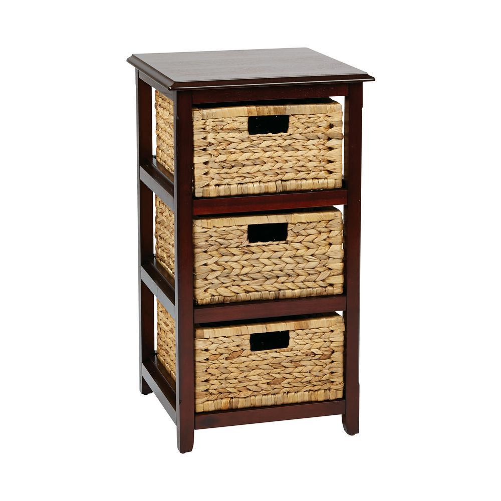 Seabrook Espresso 3-Tier Storage Unit with Natural Baskets