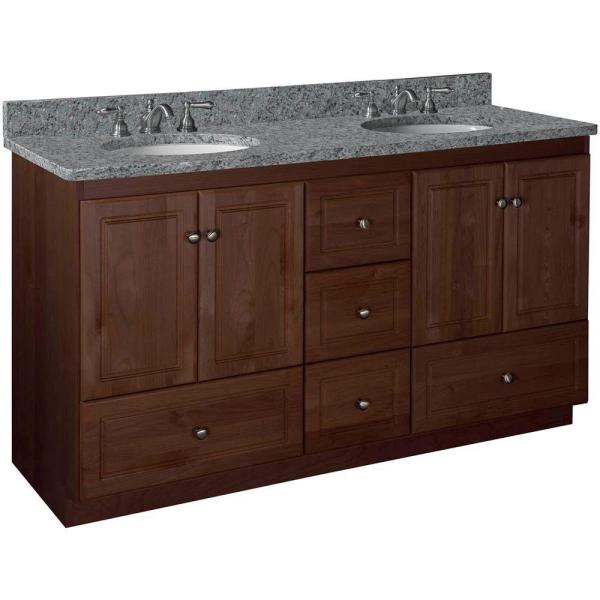 Shaker 60 in. W x 21 in. D x 34.5 in. H Vanity for Double Basins Cabinet Only in Dark Alder