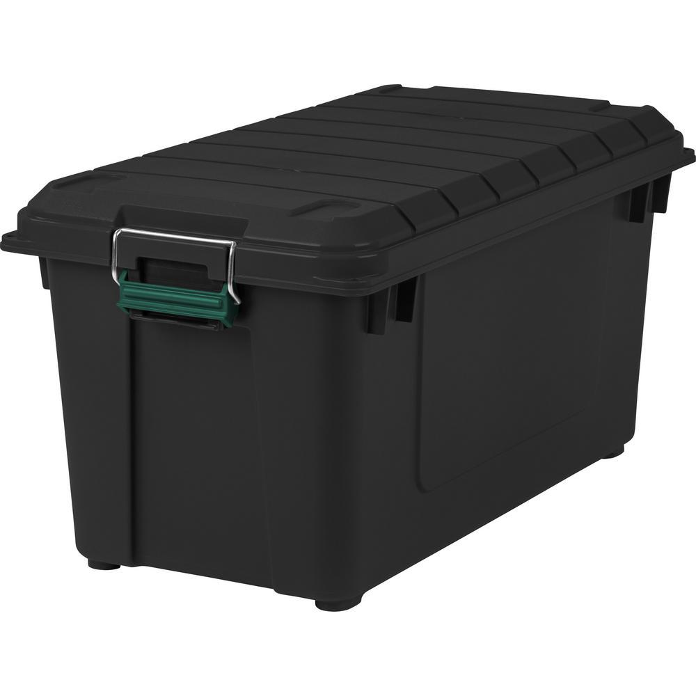 IRIS 82 Qt. Remington Weather Tight Store It All Storage Bin In  Black 296004   The Home Depot