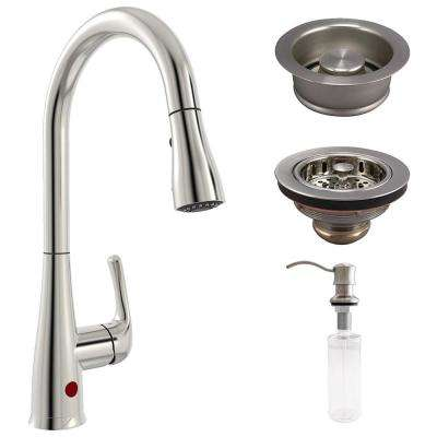 Single-Handle Pull-Down Sprayer Kitchen Faucet with Disposal Stopper, Sink  Strainer and Soap Dispenser in Brushed Nickel