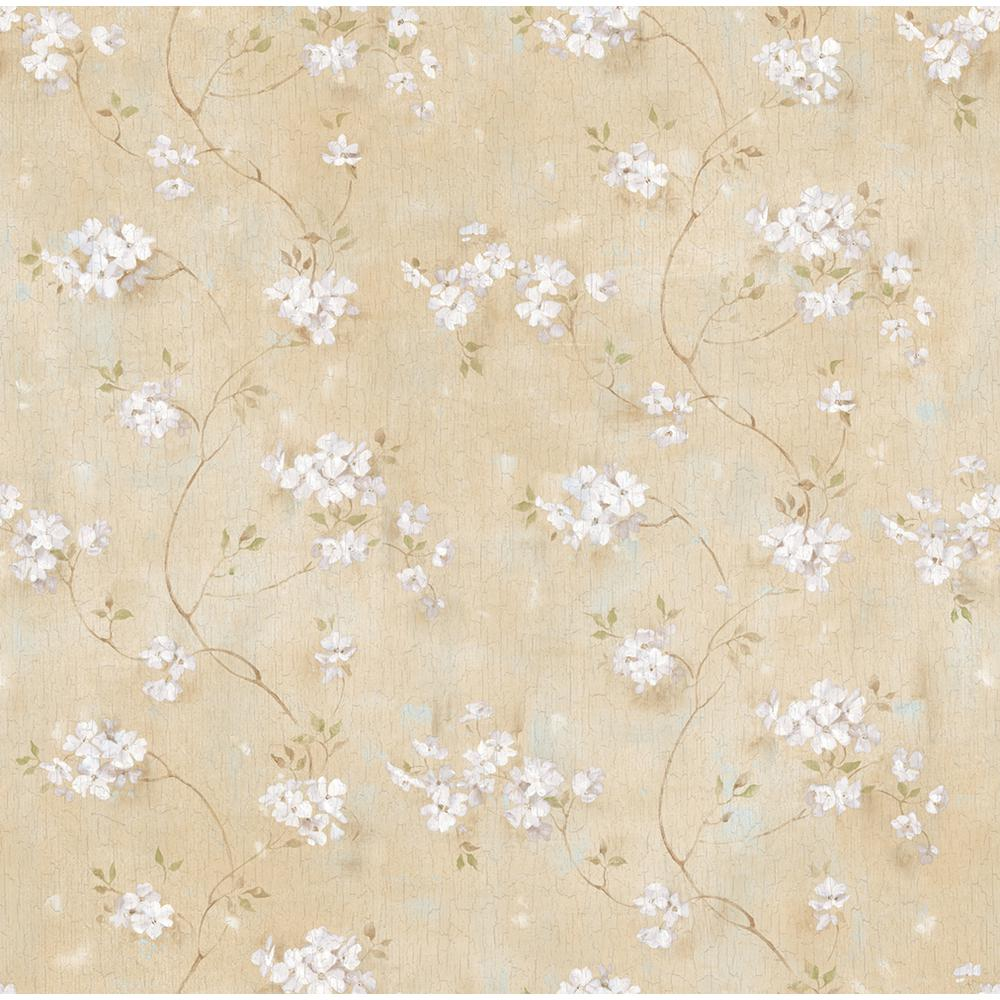 Chesapeake Braham Wheat Country Floral Trail Wallpaper Bbc44101