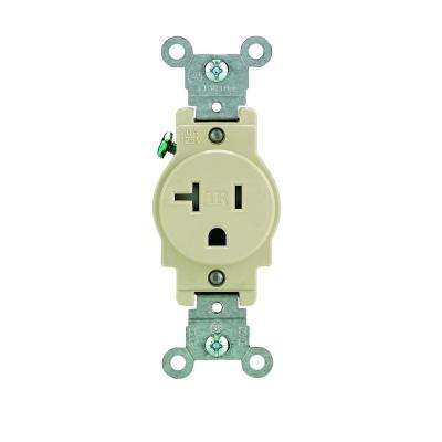 20 Amp Commercial Grade Tamper Resistant Single Outlet, Ivory