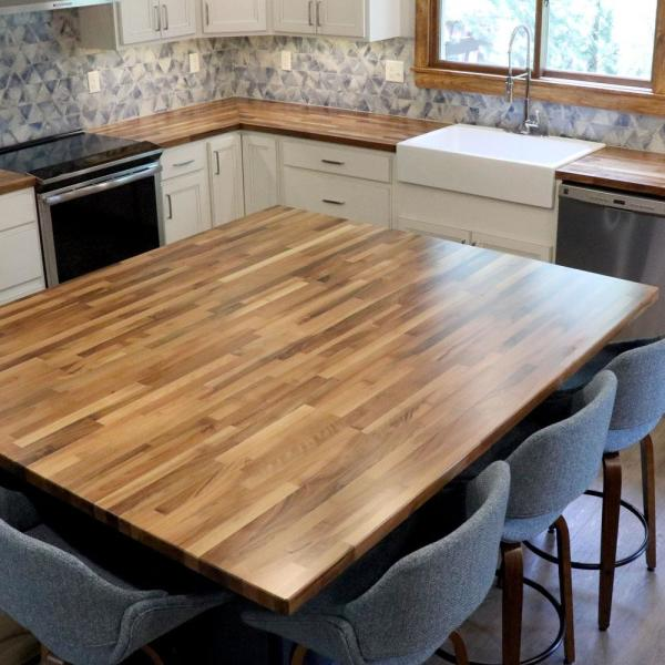 Hardwood Reflections Unfinished European Walnut 6 Ft L X 39 In D X 1 5 In T Butcher Block Island Countertop 153974hdbw 74 The Home Depot