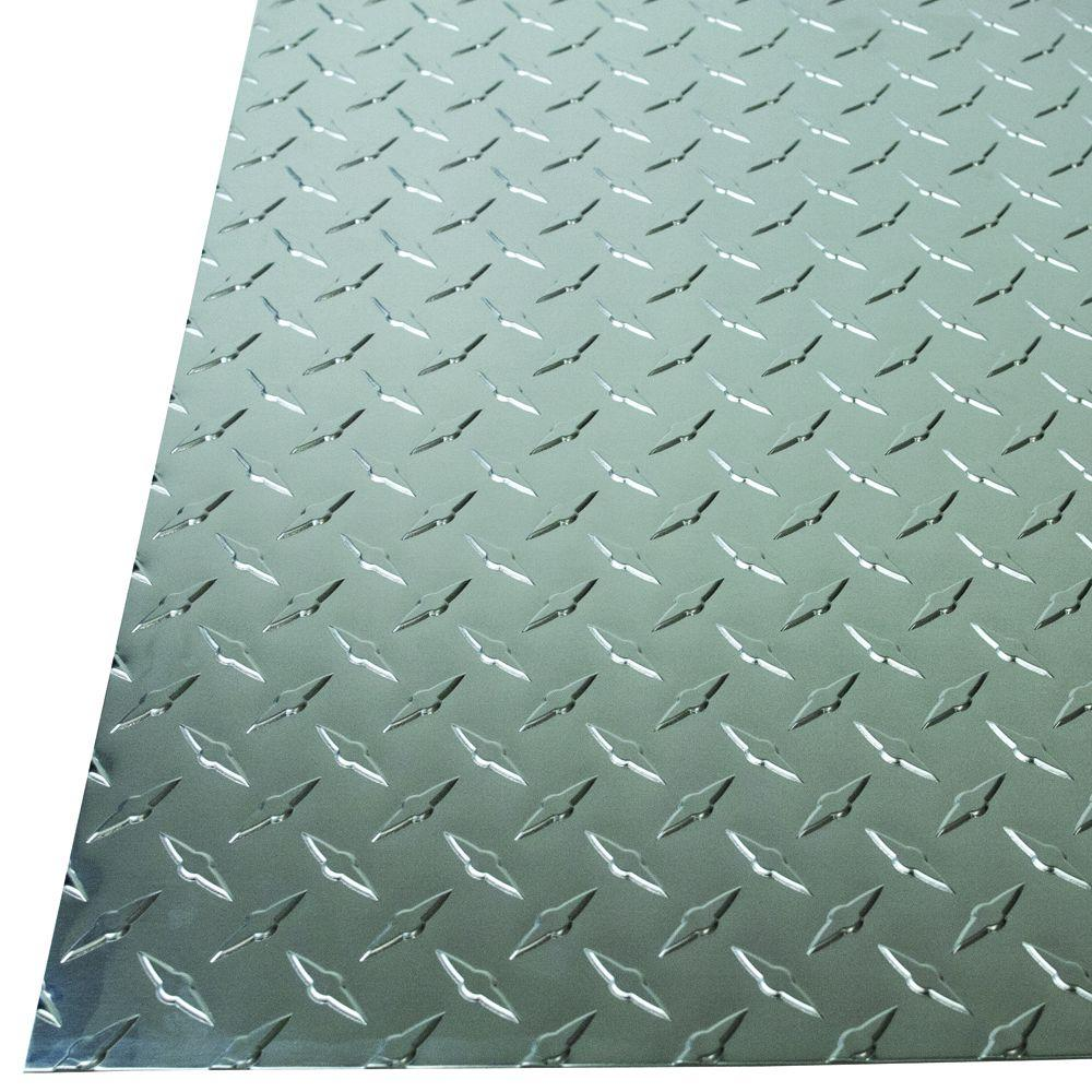 M D Building Products 36 In X 36 In X 0 025 In Diamond Tread Aluminum Sheet In Silver 57307 The Home Depot