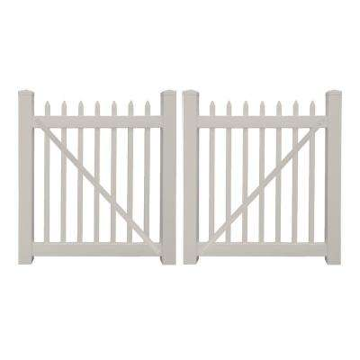 Abbington 8 ft. W x 3 ft. H Tan Vinyl Picket Fence Double Gate Kit
