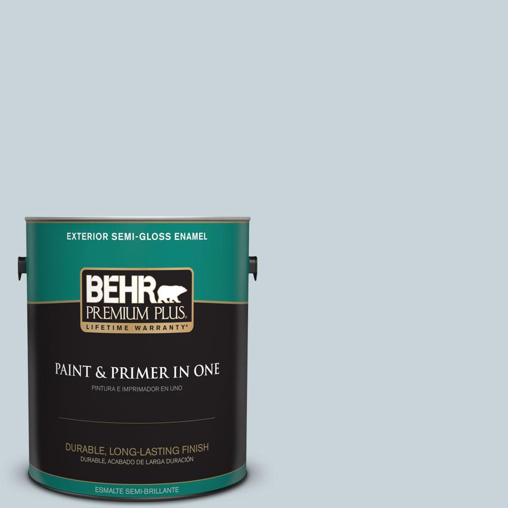 BEHR Premium Plus 1-gal. #PPL-73 Tranquil Sea Semi-Gloss Enamel Exterior Paint