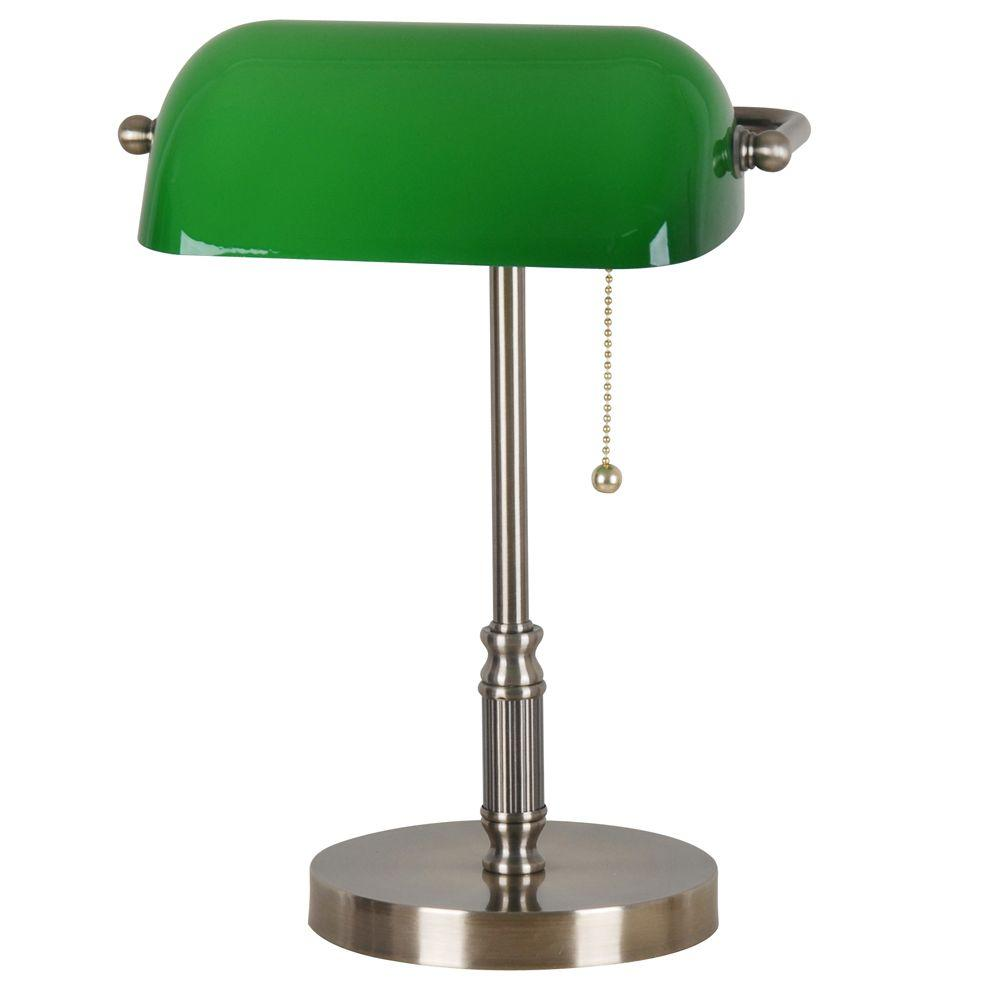 Antique Brass Bankers Lamp With Green Glass Shade