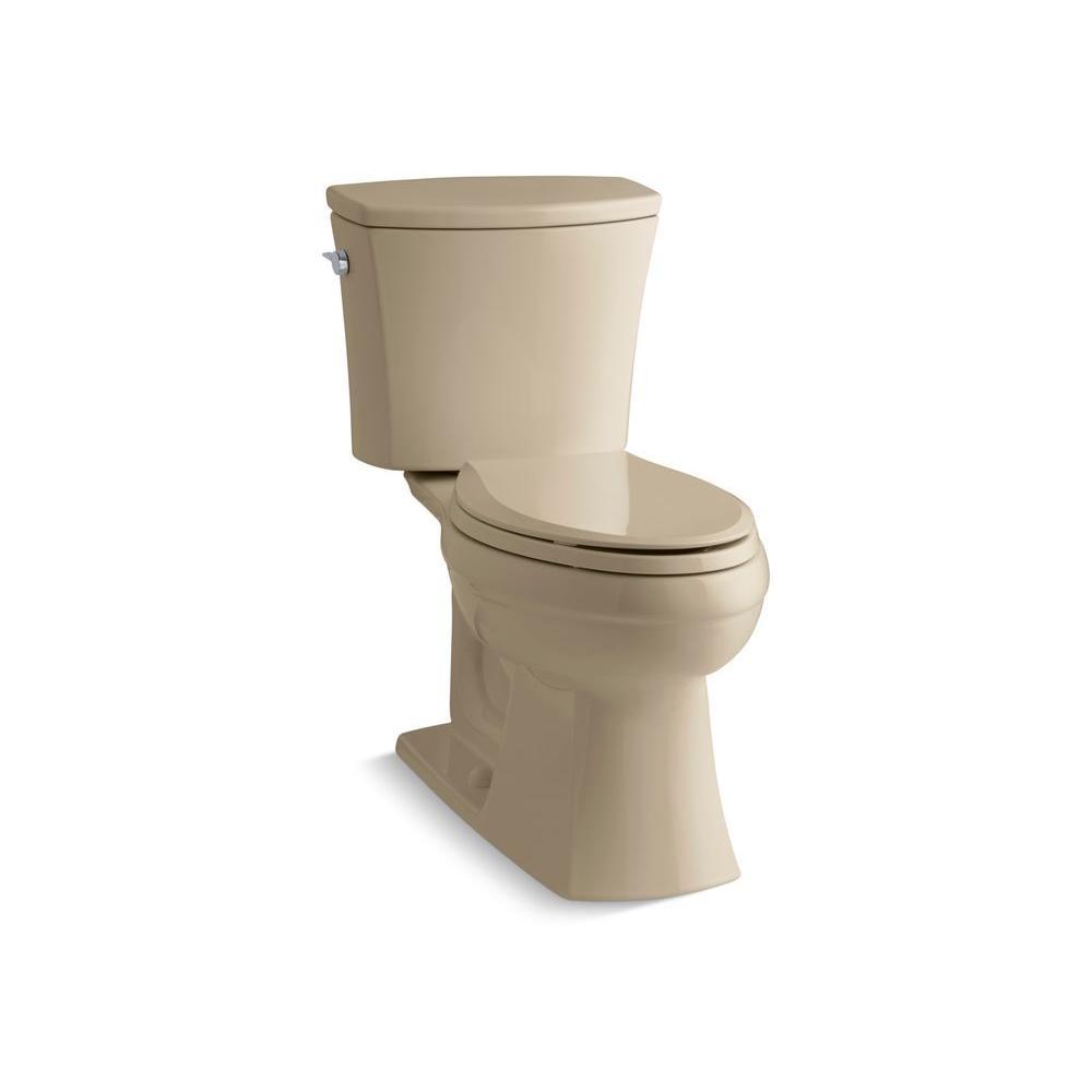 KOHLER Kelston Comfort Height 2-piece 1.6 GPF Elongated Toilet with AquaPiston Flushing Technology in Mexican Sand