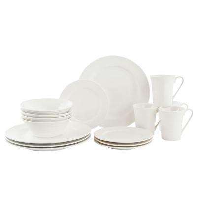 White Basics Cirque Flared Porcelain Dinnerware Set (16-Piece)