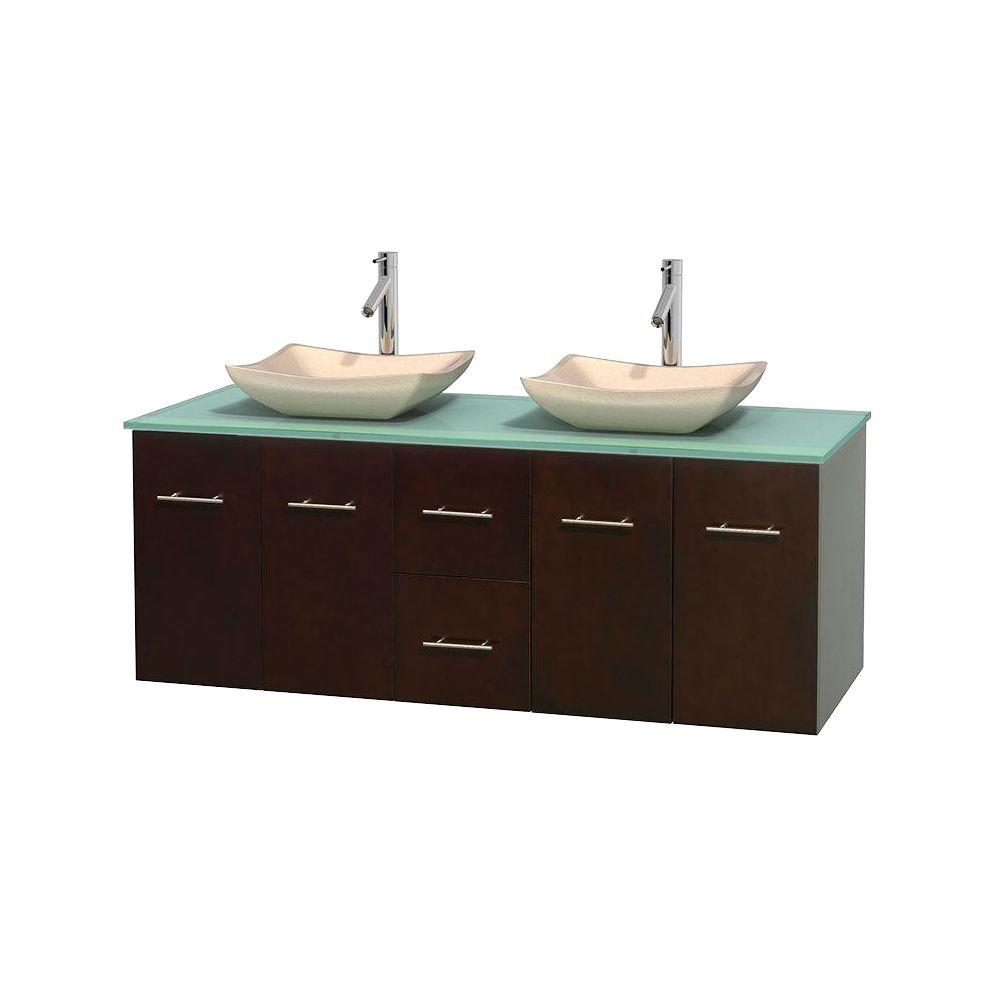 Wyndham Collection Centra 60 in. Double Vanity in Espresso with Glass Vanity Top in Green and Sinks
