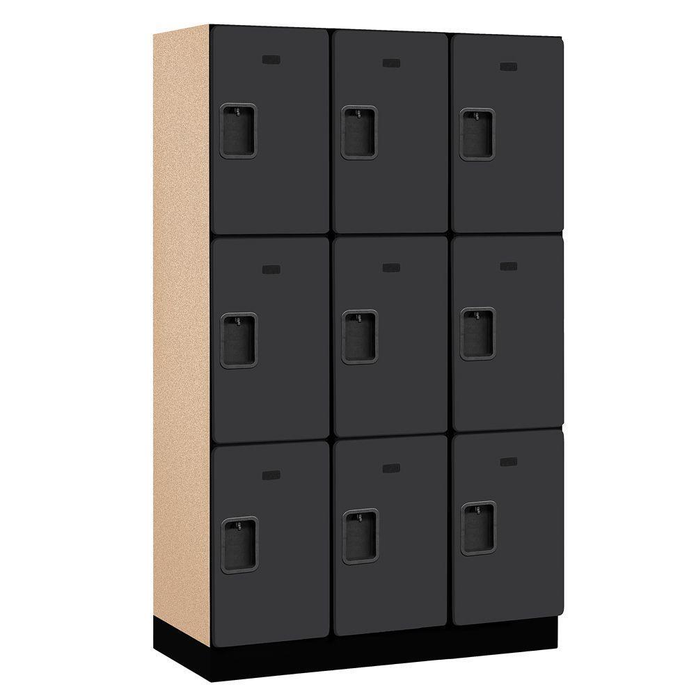 23000 Series 3-Tier Wood Extra Wide Designer Locker in Black - 15 in. W x 76 in. H x 18 in. D (Set of 3)