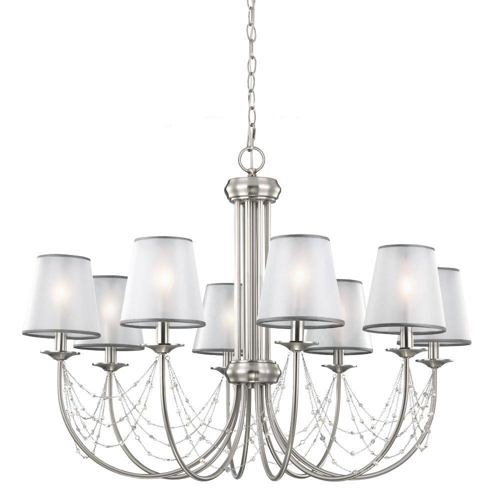 Feiss Aveline 8-Light Brushed Steel Uplight Chandelier Shade