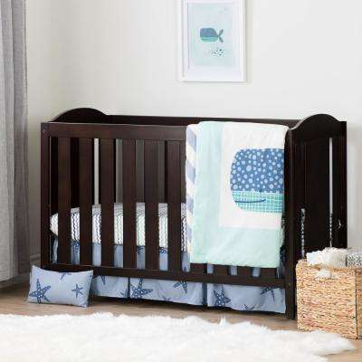 Angel Espresso and Blue Crib with Toddler Rail and Little Whale 4-Piece Bed Set