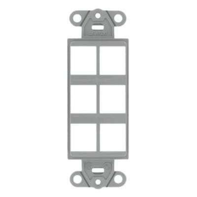 1-Gang Decora QuickPort 6-Port Insert in Gray