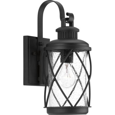 Hollingsworth Collection 1-Light Black 14.5 in. Outdoor Wall Lantern Sconce