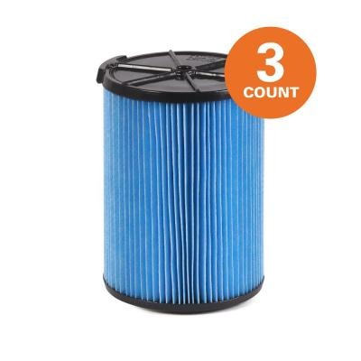 3-Layer Fine Dust Pleated Paper Filter for Most 5 Gal. and Larger RIDGID Wet/Dry Shop Vacuums (3-Pack)