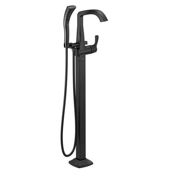 Stryke 1-Handle Freestanding Tub Filler Trim Kit with Handshower in Matte Black (Valve Not Included)
