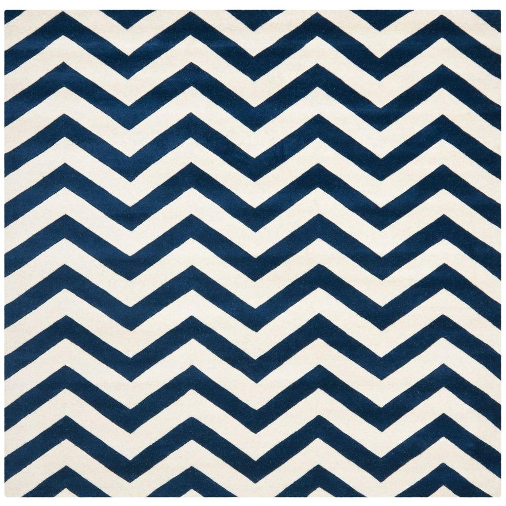 Safavieh Chatham Dark Blue/Ivory 8 ft. 9 in. x 8 ft. 9 in. Square Area Rug