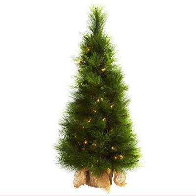3 ft. Artifiicial Christmas Tree with Burlap Bag and Clear Lights