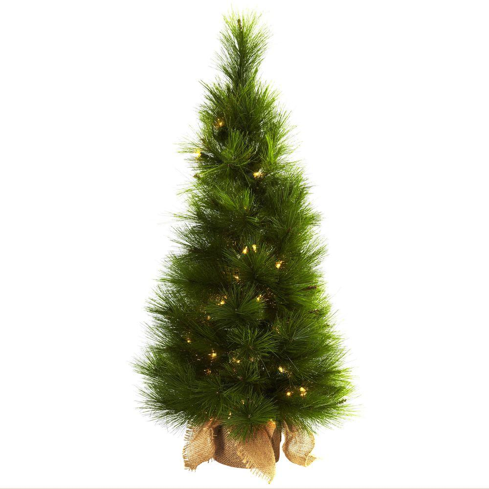 nearly natural 3 ft artificial christmas tree with burlap bag and clear lights