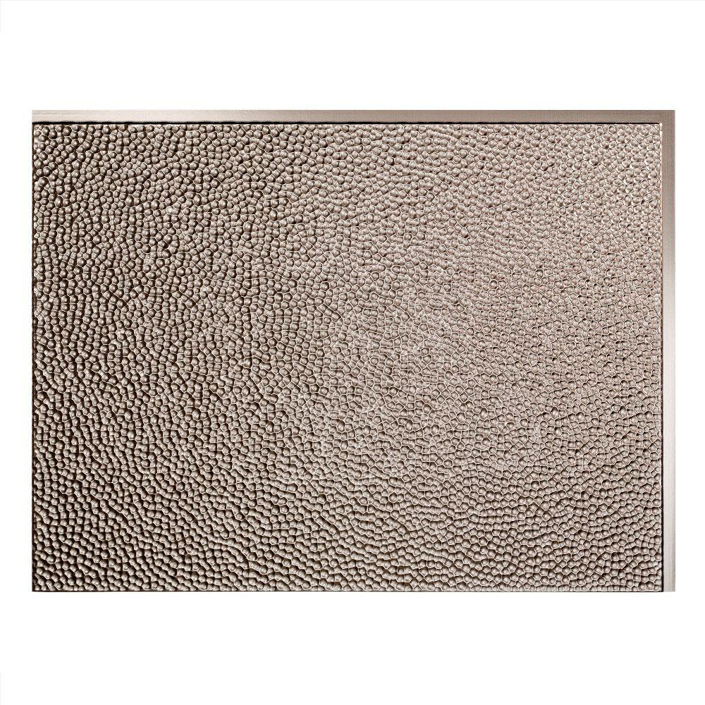 Hammered 18 in. x 24 in. Brushed Nickel Vinyl Decorative Wall