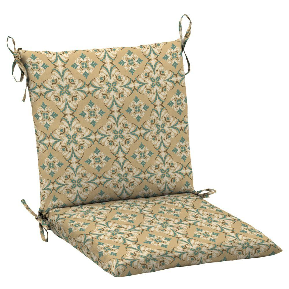 Hampton Bay Roux and Turquoise Medallion Mid Back Outdoor Chair Cushion