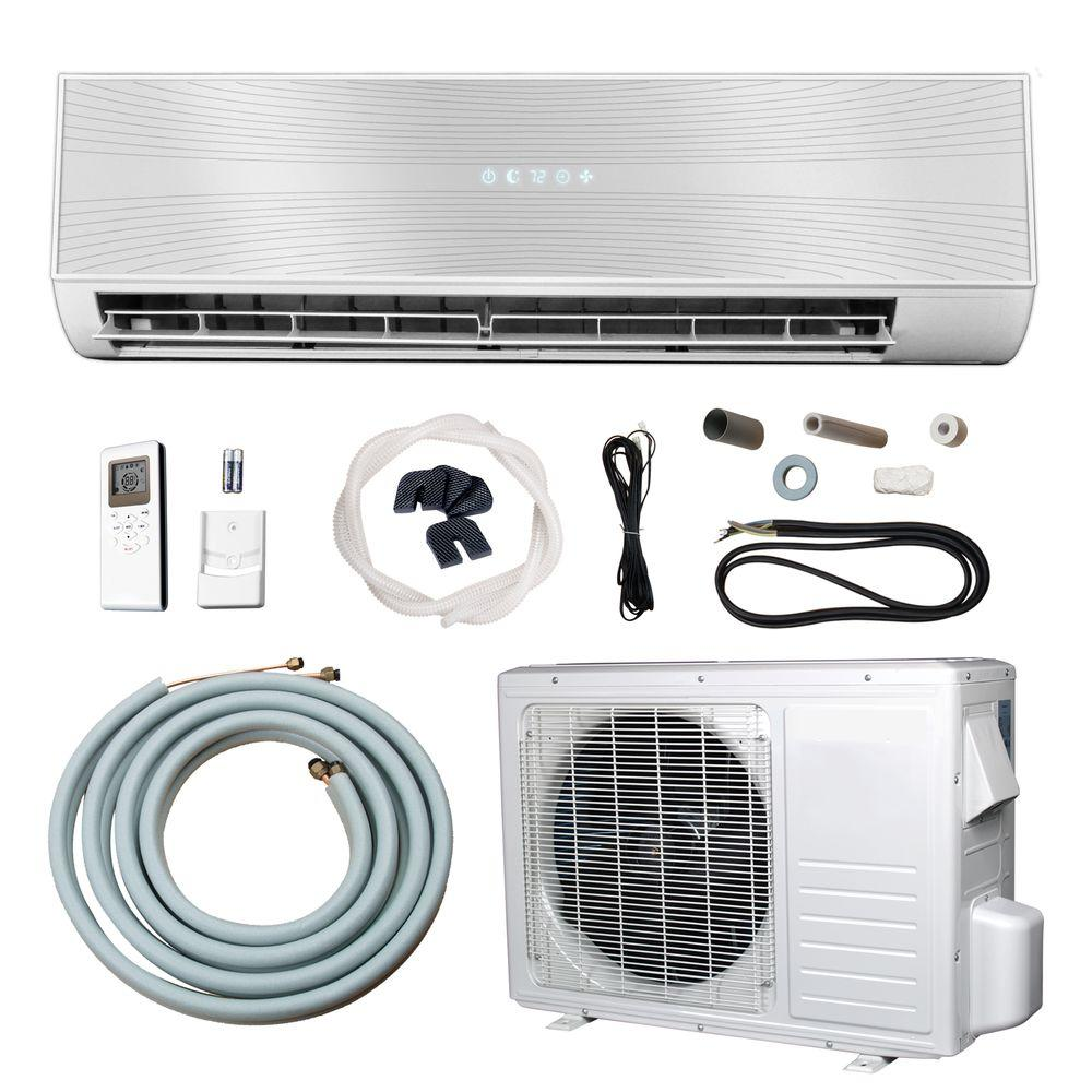 9,500 BTU (3/4 Ton) Ductless (Duct Free) Mini Split Air Conditioner and Heat Pump - 110V/60Hz, White