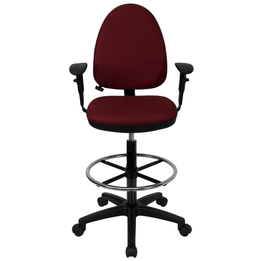 Mid-Back Burgundy Fabric Multi-Functional Drafting Chair with Adjustable Lumbar Support and Height Adjustable Arms
