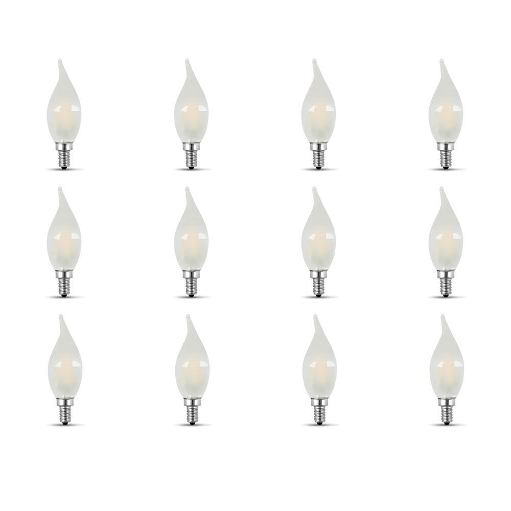 40-Watt Equivalent (2700K) CA10 Candelabra Dimmable Filament LED Frosted Glass