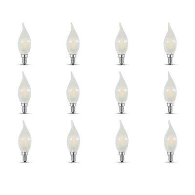 40-Watt Equivalent CA10 Candelabra Dimmable Filament Frosted Glass Chandelier LED Light Bulb, Soft White (12-Pack)