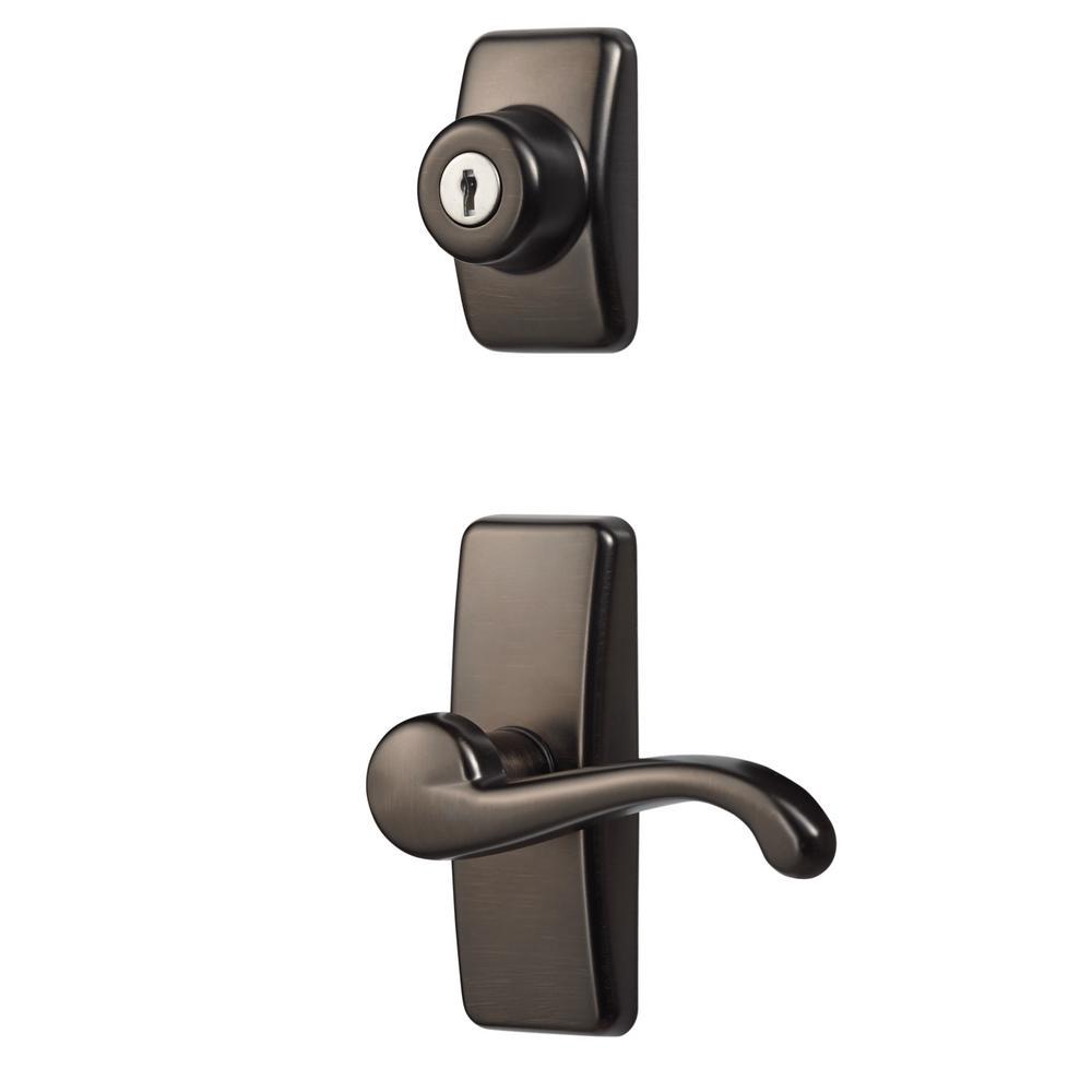 Deluxe Storm and Screen Door Lever Handle and Keyed Deadlock in Oil-Rubbed Bronze