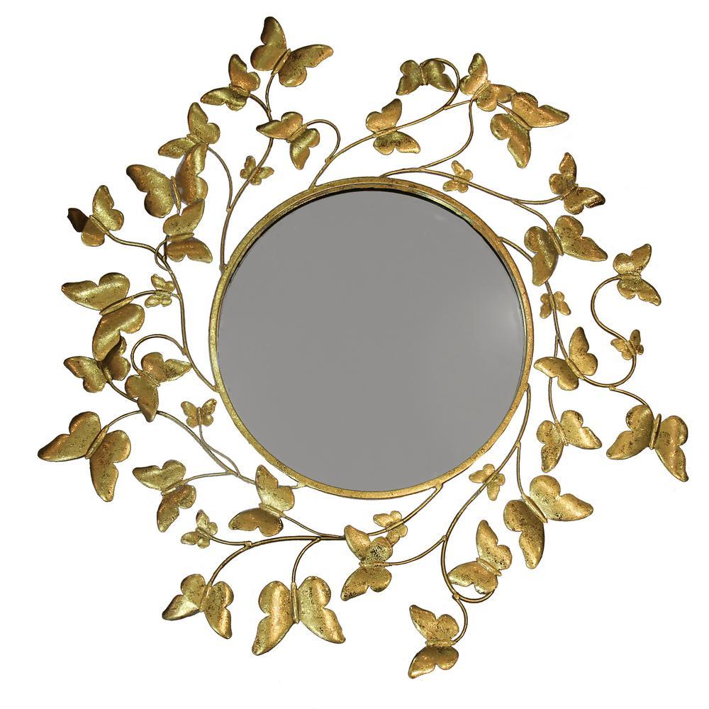 Medium Round Gold Contemporary Mirror (32 in. H x 31 in. W)