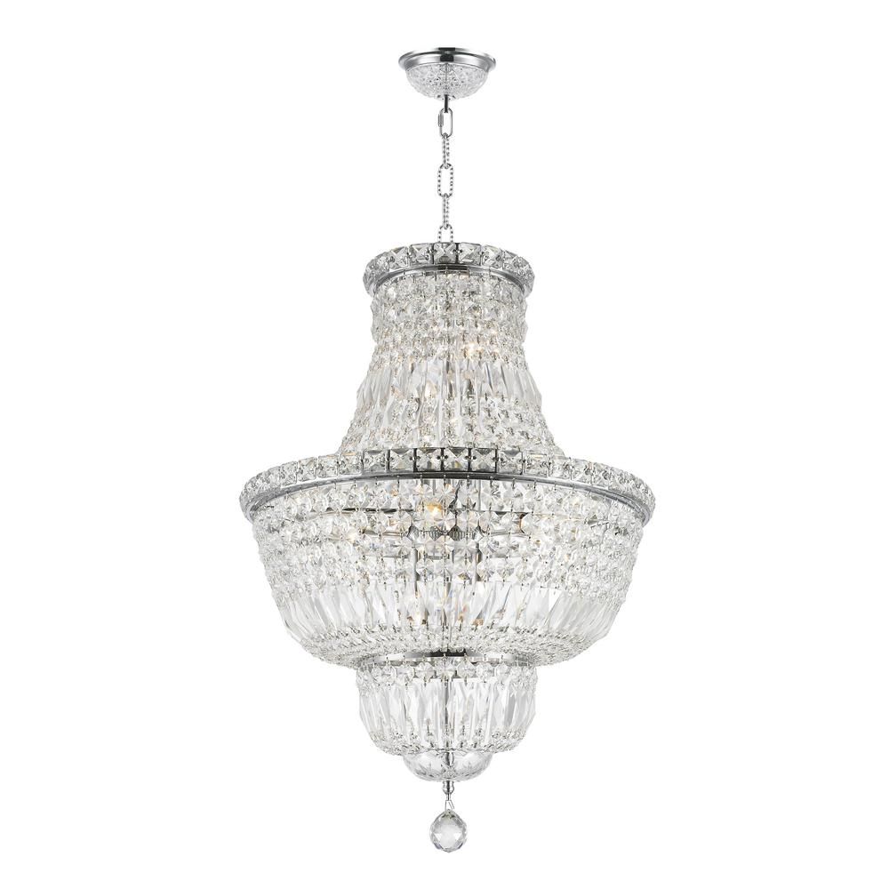 Worldwide Lighting Empire 12 Light Polished Chrome And Clear Crystal Chandelier
