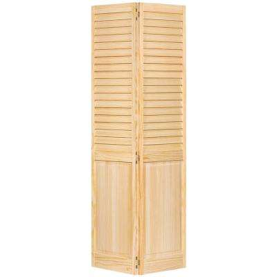 30 in. x 80 in. 30 in. Plantation Louvered Solid Core Unfinished-Panel Wood Interior Closet Bi-Fold Door