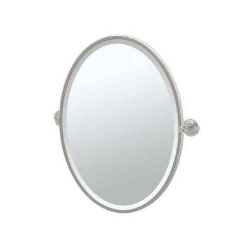 Marina 24 in. x 28 in. Framed Single Oval Mirror in Satin Nickel