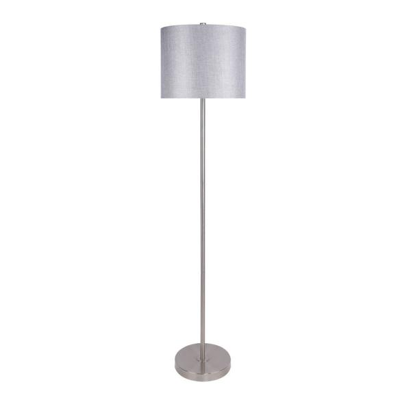 60 in. Brushed Nickel Floor Lamp with Slim-Line Design and Grey Sparkly Linen Shade