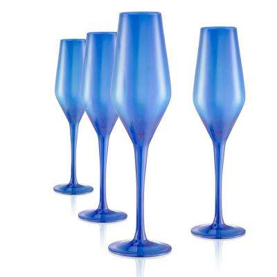 8 oz. Champagne Flute in Blue (Set of 4)