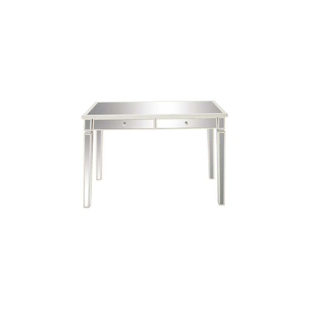 White Mirrored Wood 2-Drawer Vanity Desk-48677