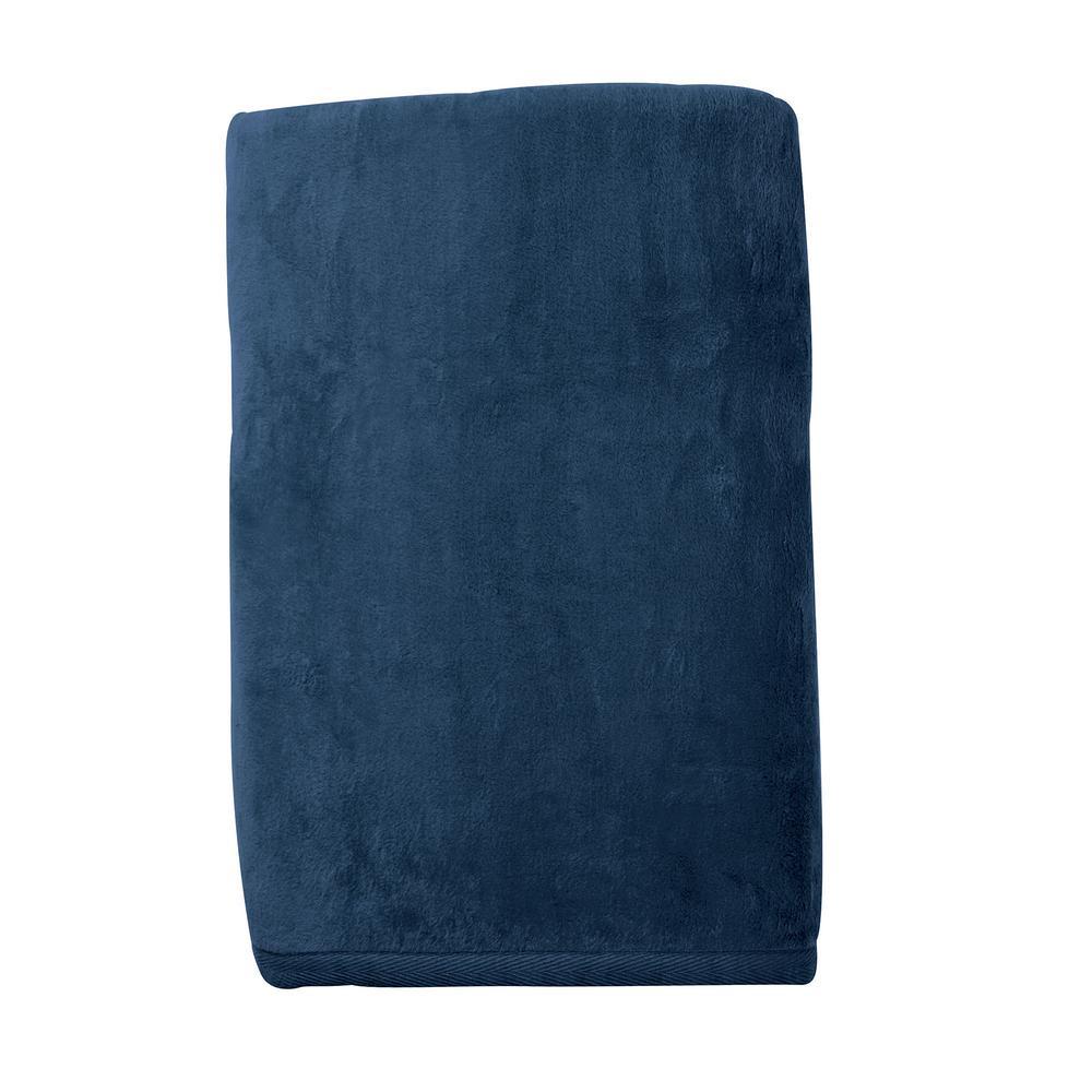 Cotton Fleece Navy Woven Throw Blanket