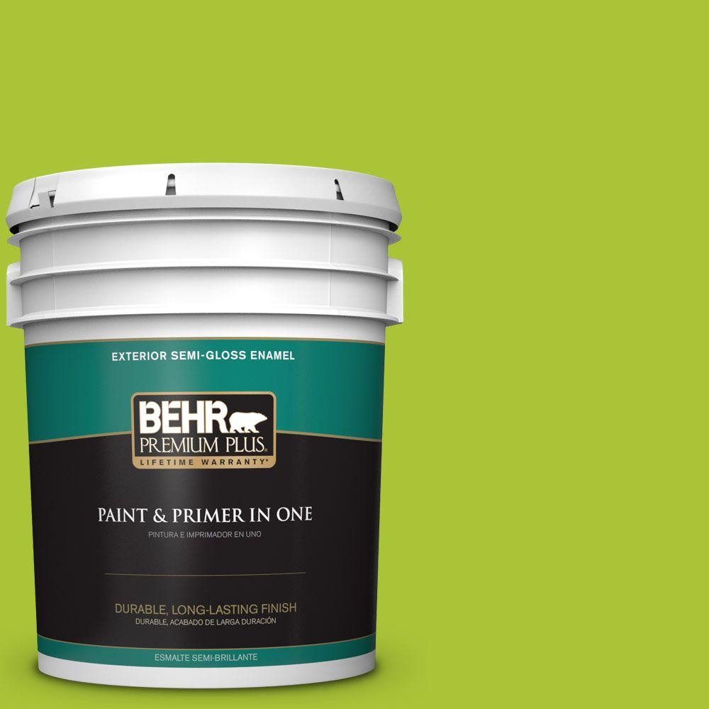 BEHR Premium Plus 5-gal. #410B-6 Crisp Green Semi-Gloss Enamel Exterior Paint