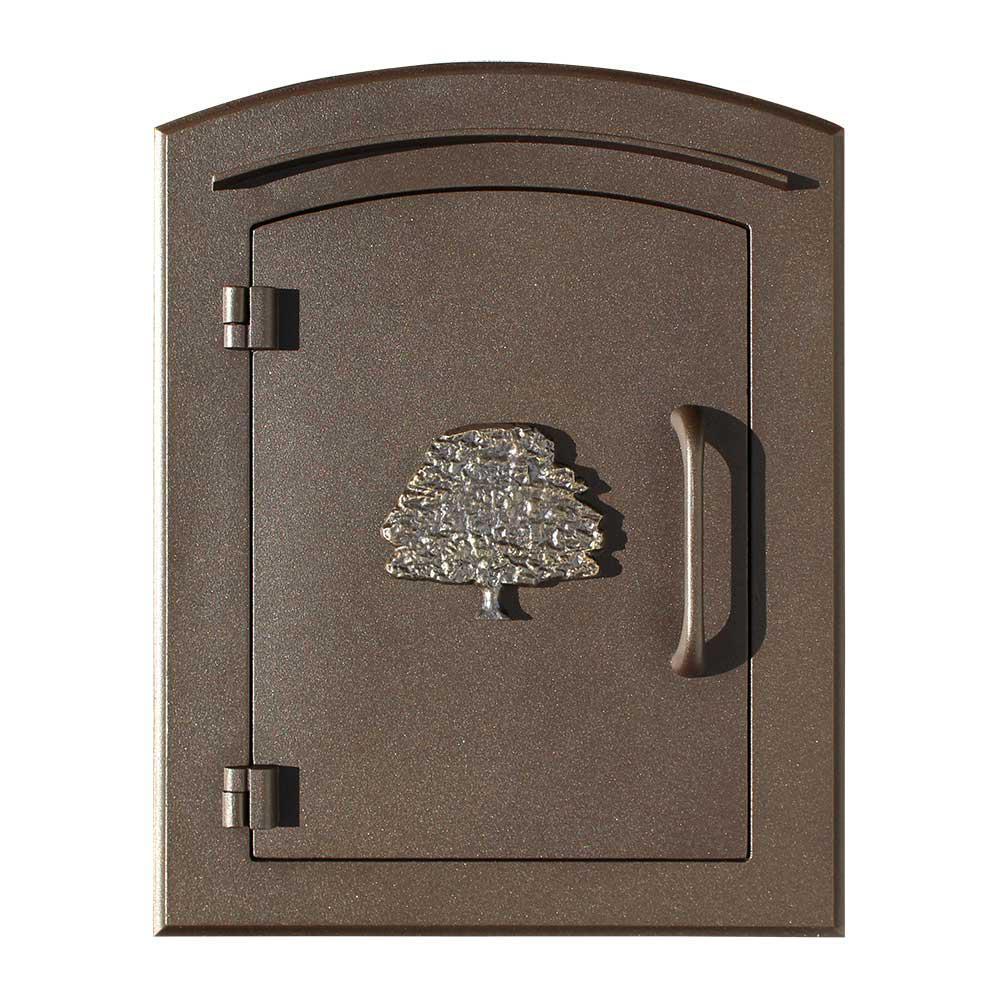 Manchester Bronze Column Mount Non-Locking Mailbox with Decorative Oak Tree Logo