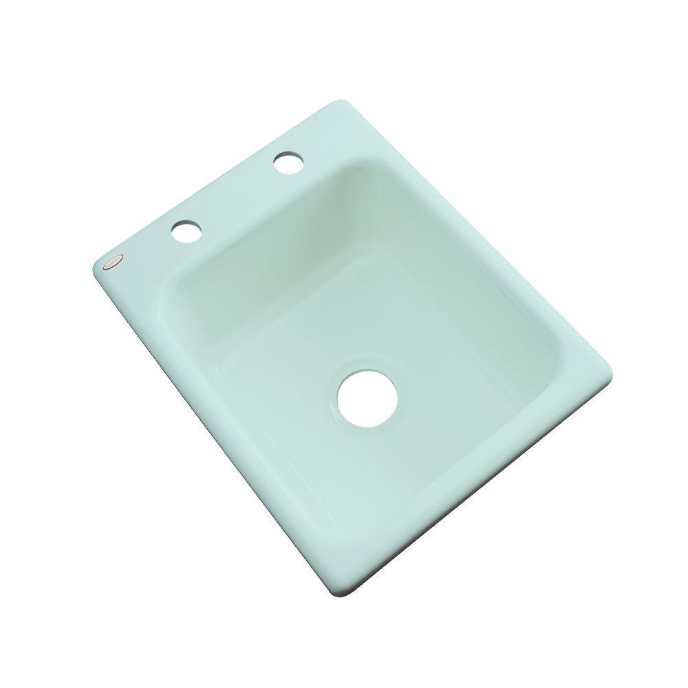 Thermocast Crisfield Drop-In Acrylic 17 in. 2-Hole Single Basin Prep Sink in Seafoam Green